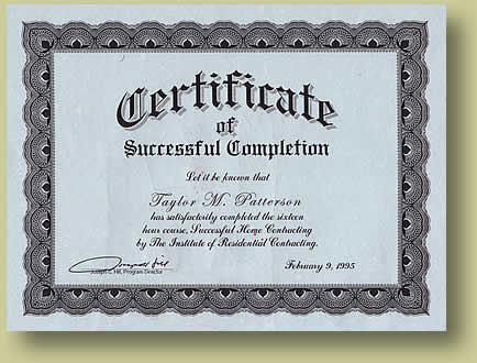 Certificate of Successful Completion